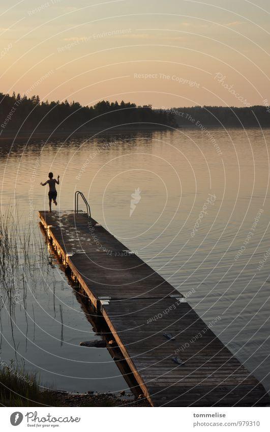 Jump! Freedom Summer Swimming & Bathing Child 1 Human being Sunrise Sunset Lakeside Joie de vivre (Vitality) Brave Beginning Optimism Trust Footbridge