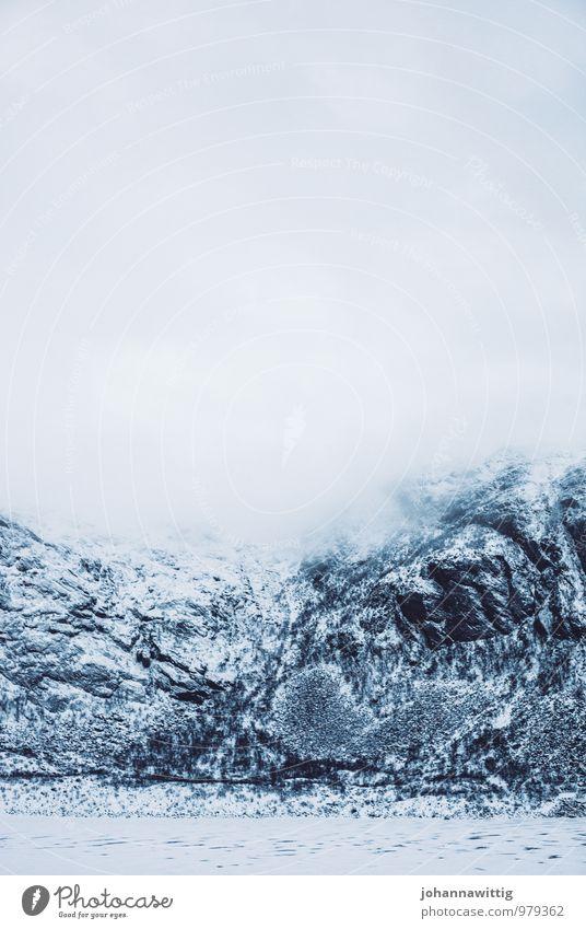 pure Environment Nature Elements Sky Clouds Winter Climate Fog Ice Frost Snow Mountain Peak Snowcapped peak Esthetic Dark Gigantic Large Cold Original Gray