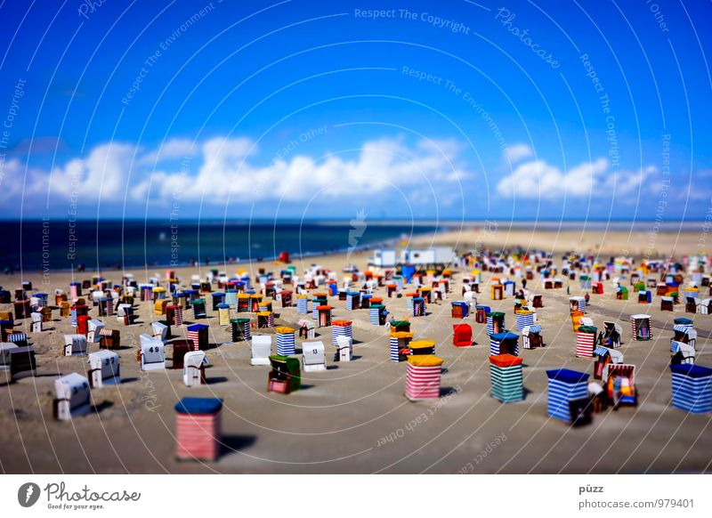 Borkum Beach Cure Vacation & Travel Tourism Summer Summer vacation Sunbathing Ocean Island Landscape Sand Sky Clouds Horizon Beautiful weather Coast North Sea