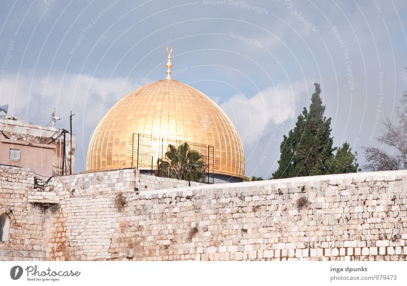 Vacation & Travel Religion and faith Tourism Gold Politics and state Domed roof Near and Middle East Israel Islam Judaism West Jerusalem Dome of the rock The Wailing wall Temple Mount