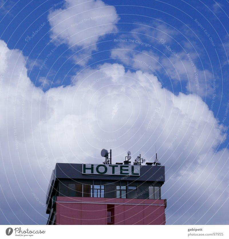 Sky Blue White Vacation & Travel Clouds House (Residential Structure) Far-off places Window Architecture Building Horizon Pink Facade Tourism High-rise
