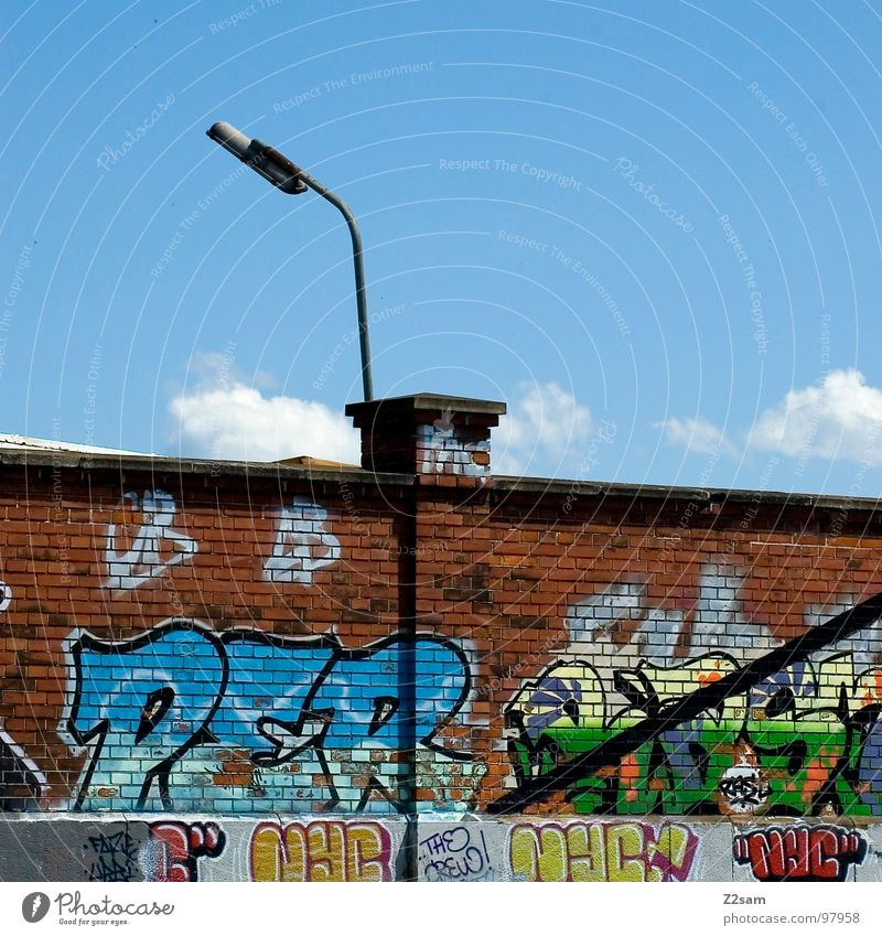 Sky Clouds Colour Wall (building) Graffiti Art Modern Letters (alphabet) Brick Creativity Munich Painting and drawing (object) Lantern Quarter Hip-hop Spray