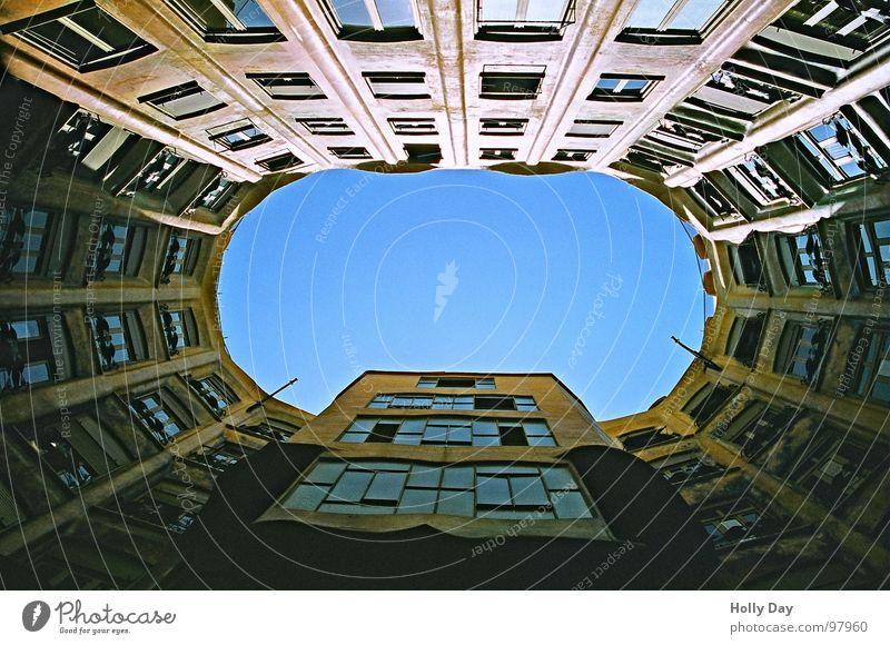Sky Blue Beautiful Dark Window Wall (building) Above Landmark Monument Barcelona Interior courtyard Extrovert Casa Milà - La Pedrera