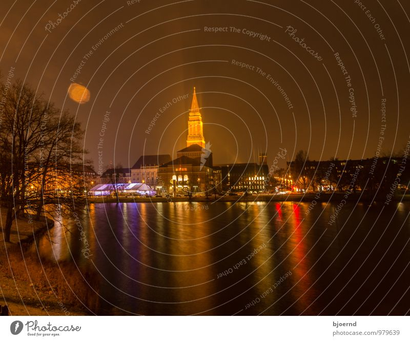 Kiel skyline with town hall tower at night Nature Night sky Winter Tree Pond Lake Town Capital city Port City Downtown Skyline City hall Landmark