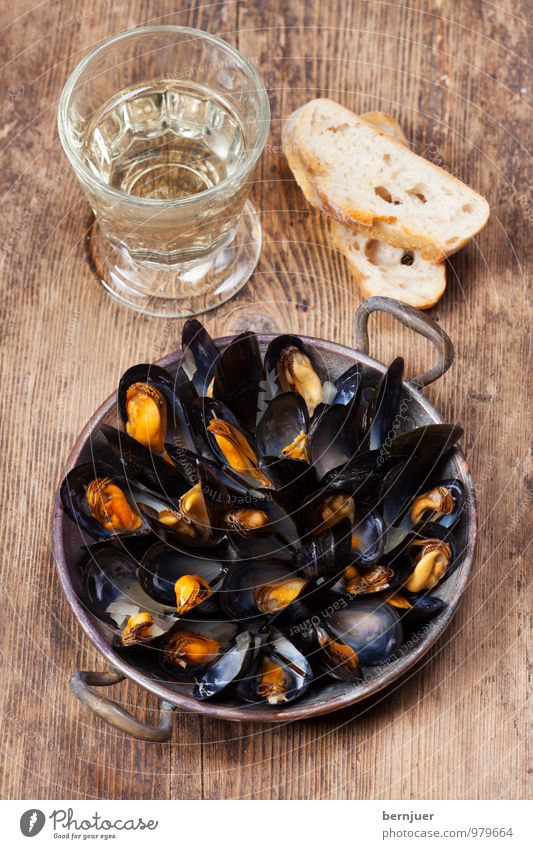 mussel pot Food Seafood Dough Baked goods Wine Pot Pan Cheap Good Mussel White wine Bread Baguette Rustic Wooden board copper pan copper pot Cooking Open
