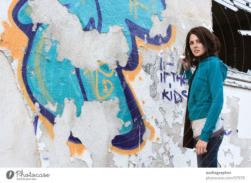 Woman White Blue Black House (Residential Structure) Feminine Wall (building) Graffiti Orange Fear Art Broken Painting (action, work) Derelict Decline Ruin