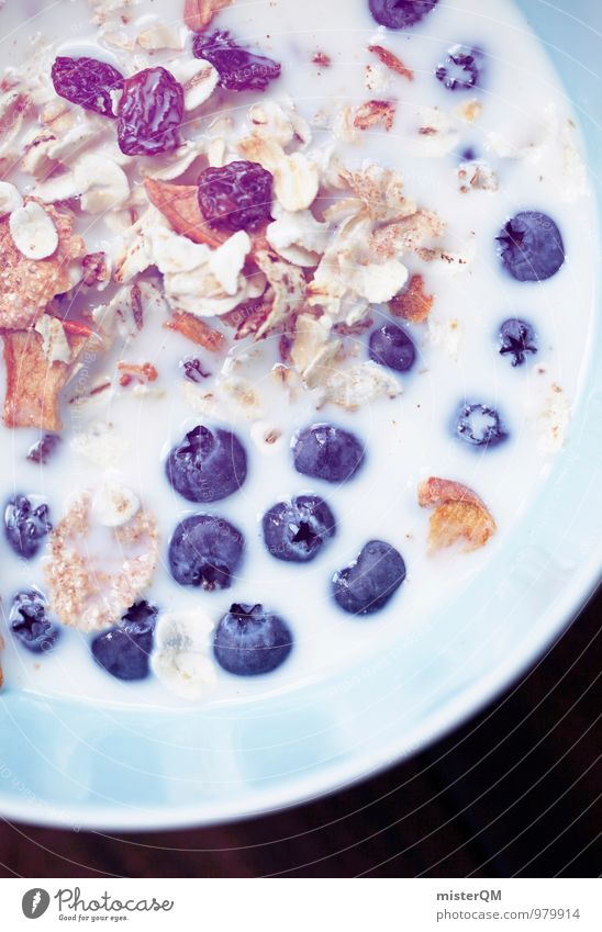 Blue Healthy Eating Food Contentment Esthetic Delicious Breakfast Berries Bowl Milk Blueberry Dairy Products Cereal Raisins Breakfast table Morning break