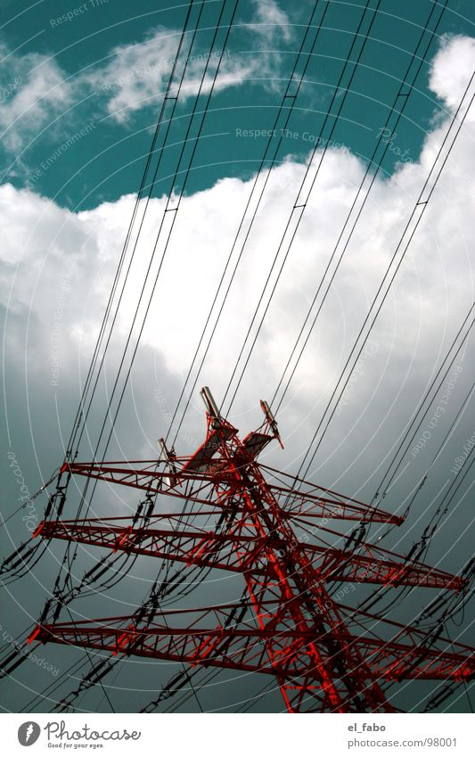 stromgiese Electricity pylon Clouds Green Red Iron 08 15 Electrical equipment Technology Energy industry Sky Industrial Photography Metal etc etc