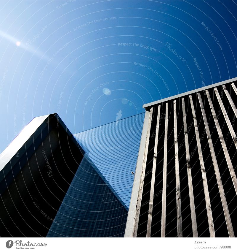 Sky Blue Wall (building) Style Building Line Metal Glass Modern Simple Construction site Geometry Minimal Glas facade