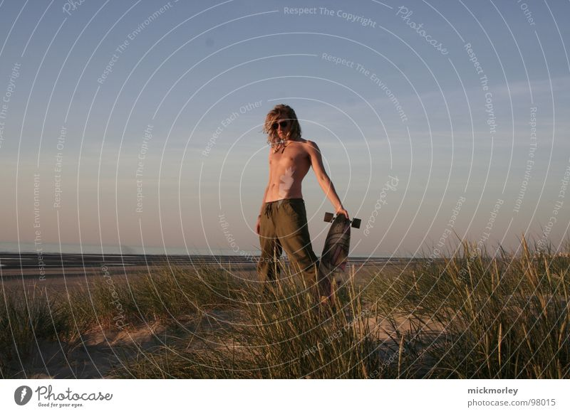 Human being Vacation & Travel Blue Green Summer Relaxation Ocean Beach Emotions Grass Brown Sand Weather Posture Skateboarding Blade of grass