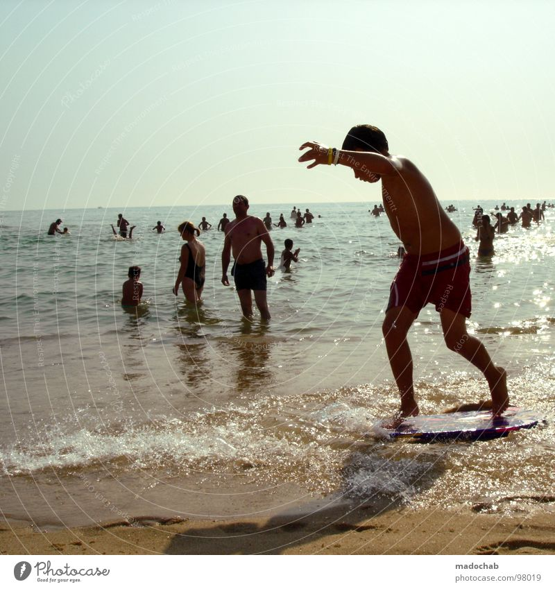 Human being Child Man Water Vacation & Travel Summer Beach Joy Relaxation Playing Movement Sand Legs Swimming & Bathing Leisure and hobbies Multiple