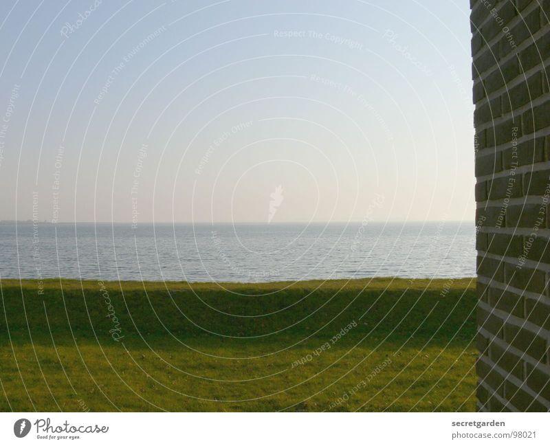 farsightedness Ocean Sunrise Wall (building) Wall (barrier) Grass Green Hill Horizon Morning Fog Intensive Empty Loneliness Coast Calm Wellness Relaxation