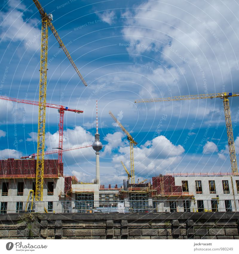 Middle castle in the air Construction site Construction crane Clouds Downtown Berlin Castle Landmark Berlin TV Tower Build Authentic Modern Change Renewal