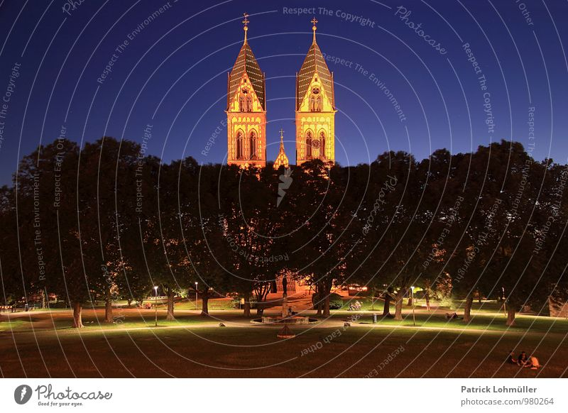 Stühlinger Church Square Freiburg Human being Architecture Environment Cloudless sky Night sky Tree Freiburg im Breisgau Europe Germany Town Downtown