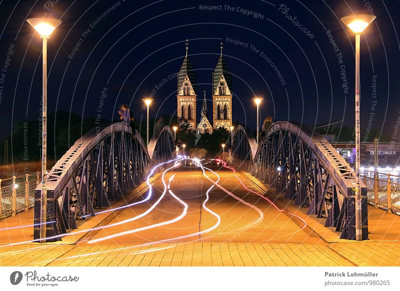 Wiwili Bridge Freiburg Human being Night sky Summer Freiburg im Breisgau Germany Europe Town Downtown Church Manmade structures Architecture Tourist Attraction