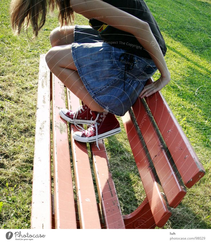 Youth (Young adults) Red Sun Summer Jump Legs Footwear Dirty Sit Search Bench Lawn Mysterious Americas Chucks Sneakers
