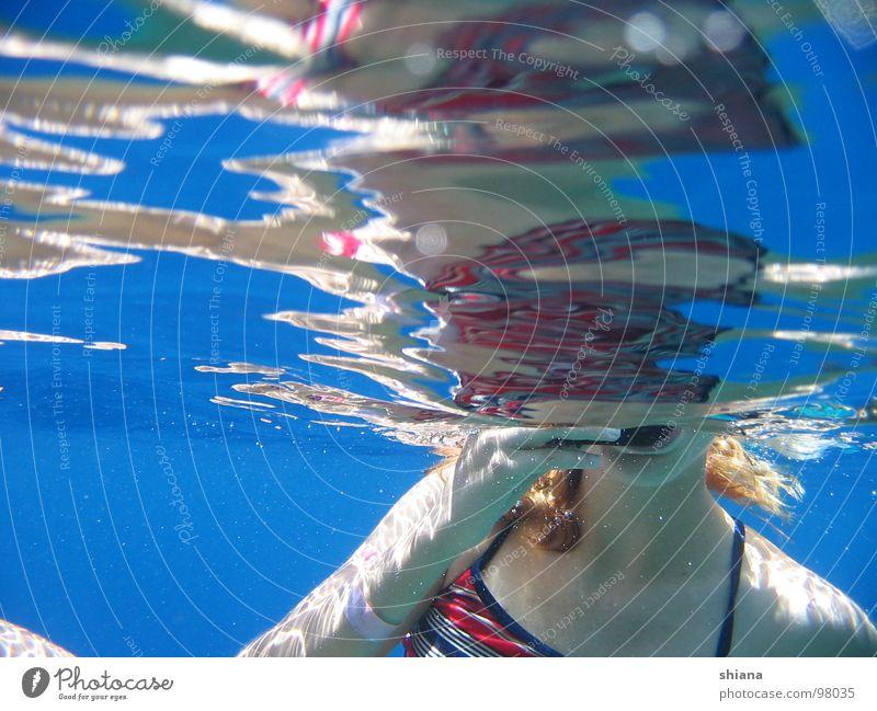 Woman Blue Water Hand Red Ocean Girl Summer Arm Skin Mouth Dive Bikini Surface Surface of water Aquatics