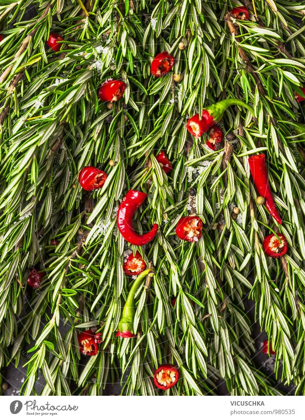 Rosemary and red chilli Food Vegetable Herbs and spices Nutrition Organic produce Vegetarian diet Diet Style Design Nature Chili Background picture Pepper