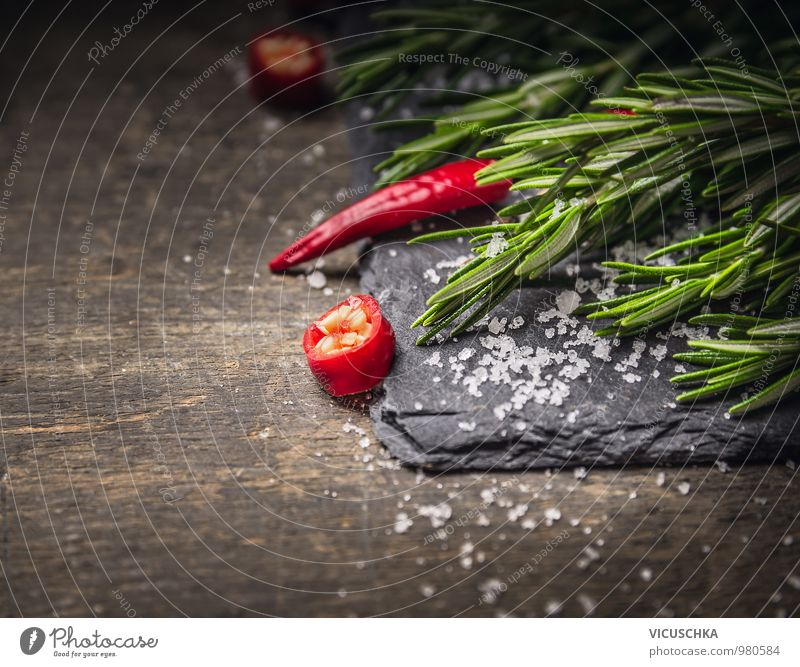 Rosemary and chilli with salt on dark slate Food Herbs and spices Nutrition Organic produce Vegetarian diet Diet Style Design Healthy Eating Life Kitchen Nature