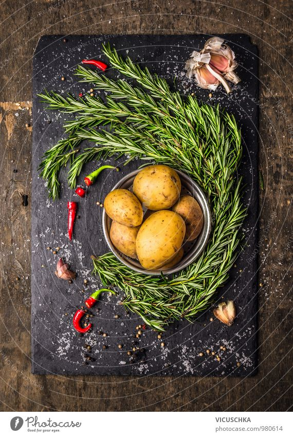 Potatoes with rosemary, garlic and spices, ingredients Food Vegetable Herbs and spices Nutrition Lunch Dinner Buffet Brunch Organic produce Vegetarian diet Diet