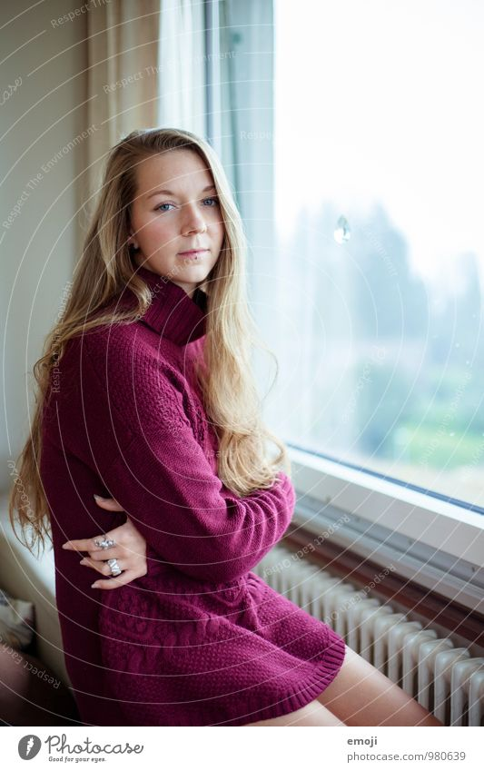 Human being Youth (Young adults) Beautiful Young woman 18 - 30 years Adults Sadness Feminine Think Violet Long-haired Sweater