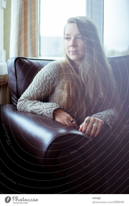 cozy. Feminine Young woman Youth (Young adults) 1 Human being 18 - 30 years Adults Sofa Beautiful Colour photo Interior shot Day Shallow depth of field