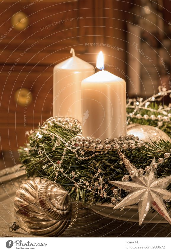 Christmas & Advent Relaxation Feasts & Celebrations Moody Decoration Joie de vivre (Vitality) Candle Silver Christmas decoration Christmas wreath