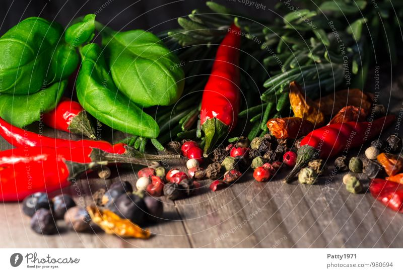 Sharp Food Herbs and spices Chili Basil Rosemary Peppercorn Nutrition Italian Food Wood Fragrance Delicious Appetite Tangy Spicy Aromatic Colour photo