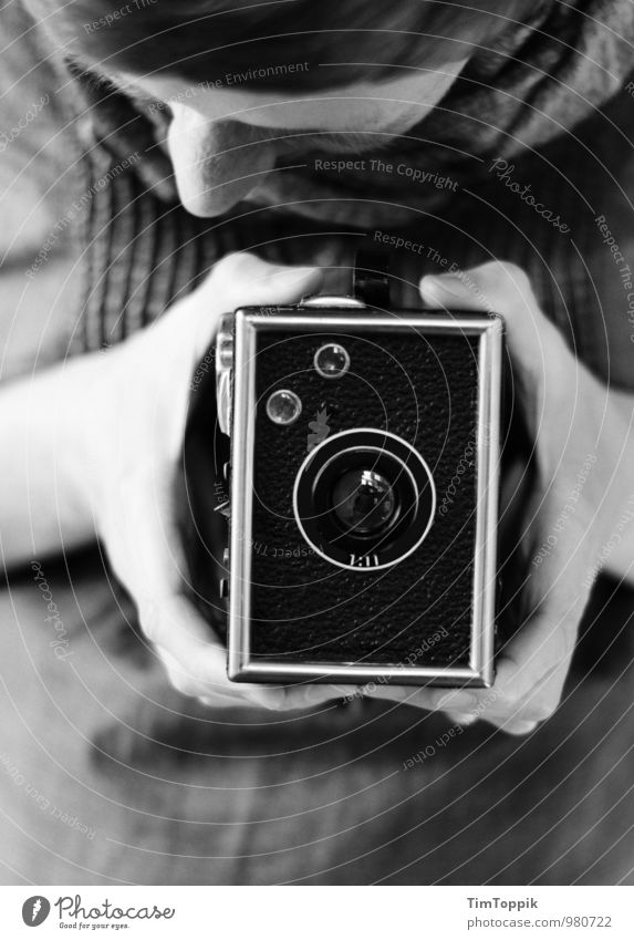 in box Feminine Woman Adults 1 Human being 30 - 45 years Looking Photography Take a photo Camera Vintage Retro Photographer Black & white photo Hand Viewfinder