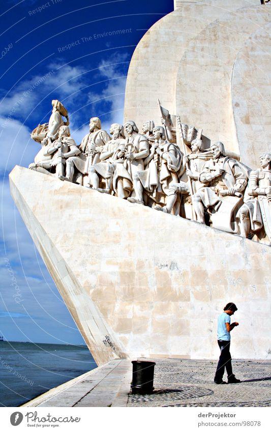 Human being Blue Stone Monument Historic Landmark Portugal Seaman Lisbon Sea route