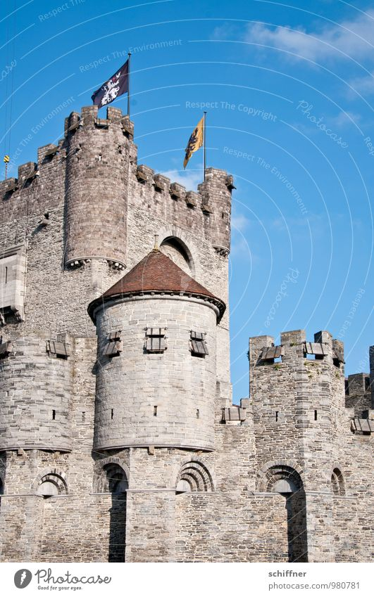 Belgian Rapunzel Mason Sky Castle Old Sharp-edged Blue Castle tower Castle wall Medieval times Ghent Belgium Flag Exterior shot Deserted