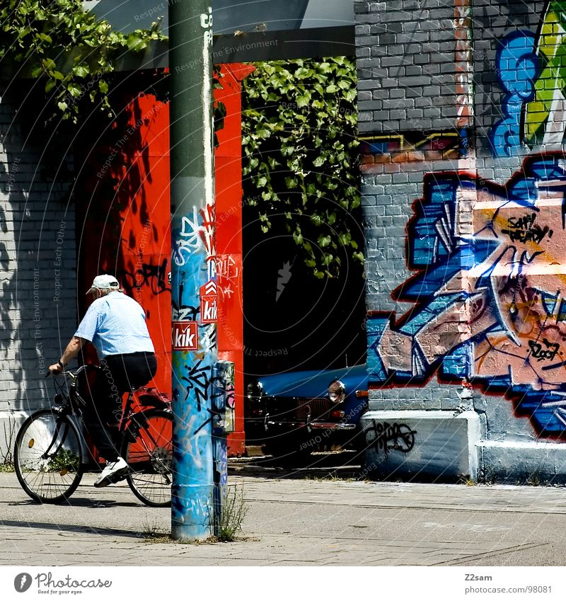 City Red Colour Wall (building) Graffiti Senior citizen Movement Car Art Bicycle Modern Driving Letters (alphabet) Brick Creativity Munich