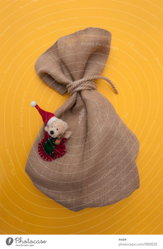 Yellow Funny Small Gift Simple Cute Graphic Tradition Donate Bear Sack Christmas gift Packaging Jute sack