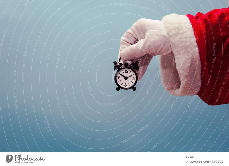 It's time ... Shopping Style Design Clock Feasts & Celebrations Christmas & Advent Hand Clothing Workwear Coat Gloves Sign Funny Blue Red White Anticipation