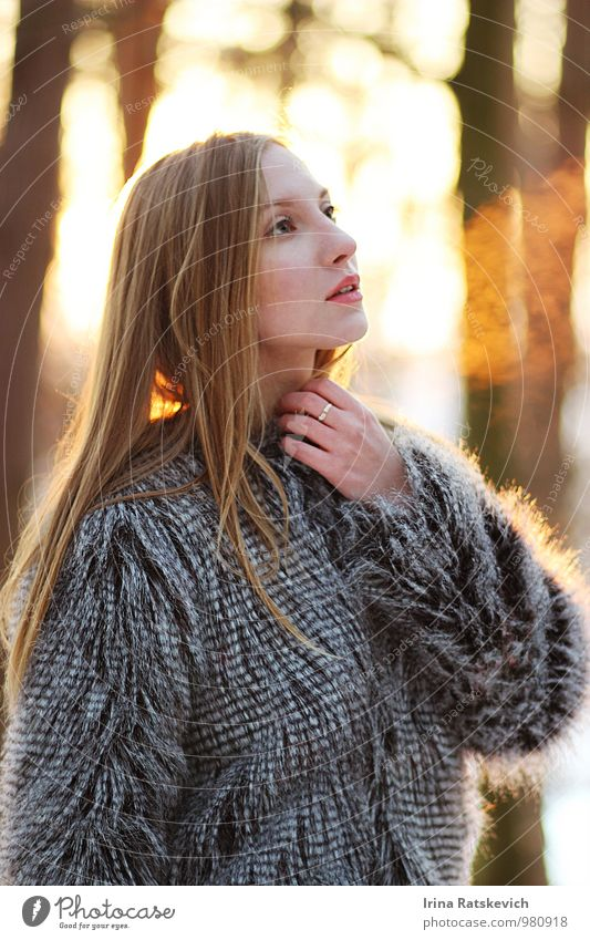 winter girl Young woman Youth (Young adults) 1 Human being 18 - 30 years Adults Beautiful weather Fashion Fur coat To enjoy Looking Dream Thin Happy Cold Cute