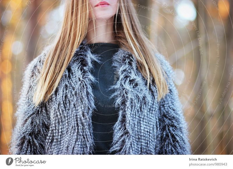 fashion Young woman Youth (Young adults) Hair and hairstyles Lips 1 Human being 18 - 30 years Adults Beautiful weather Forest Fashion Clothing Coat Fur coat