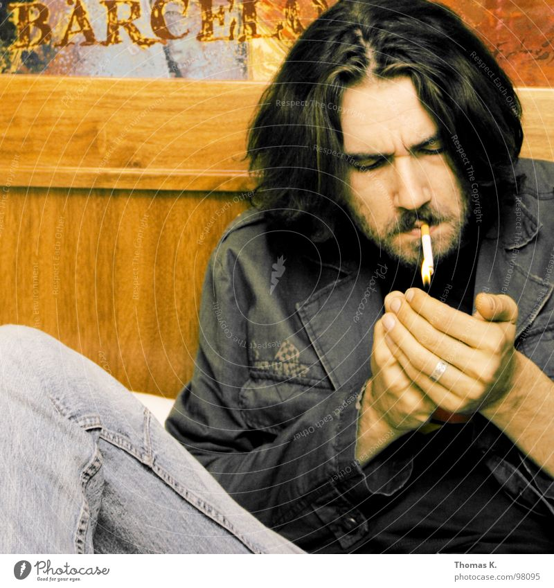 Chillin B. Cigarette Relaxation Portrait photograph Wood Room Sofa Hand Lighter Jacket Smoking End Blaze smoke face Head