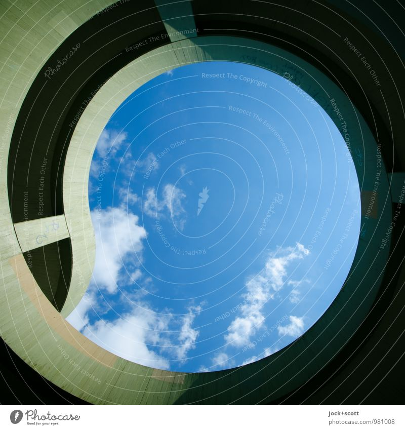 circle squared Blue Summer Clouds Far-off places Warmth Lanes & trails Time Above Arrangement Contentment Modern Perspective Large Circle Concrete Simple