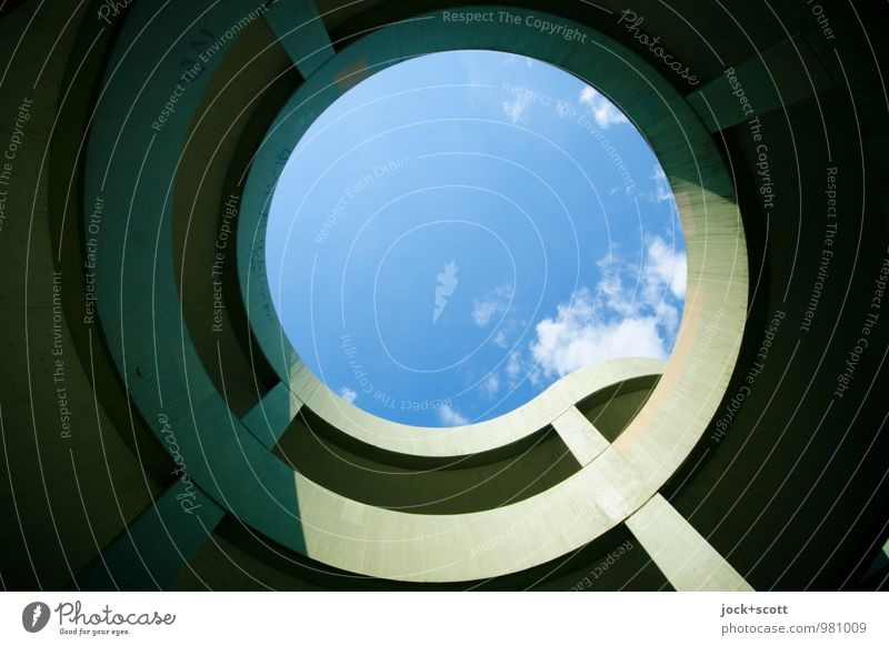 skyward round Blue Green Summer Calm Clouds Warmth Architecture Lanes & trails Time Arrangement Contentment Modern Large Esthetic Circle Concrete