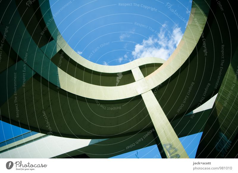 City Blue Green Summer Clouds Warmth Lanes & trails Time Line Modern Perspective Concrete Stripe Bridge Round Protection