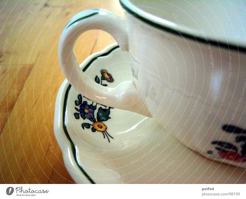 Tea Hour II Cup Saucer Table Brown White Red Flower Rose Green Carry handle Crockery Wood Restaurant Happiness Leisure and hobbies Baked goods Coffee tired