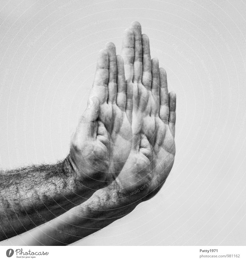 Up to here... Masculine Hand 1 Human being 30 - 45 years Adults Self-confident Willpower Attentive Watchfulness Unwavering Resolve Protest Argument