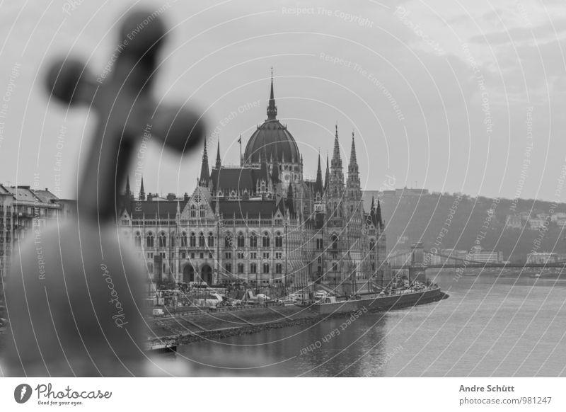 Budapest Town Old Hungarian Parliament Building Országház Black & white photo