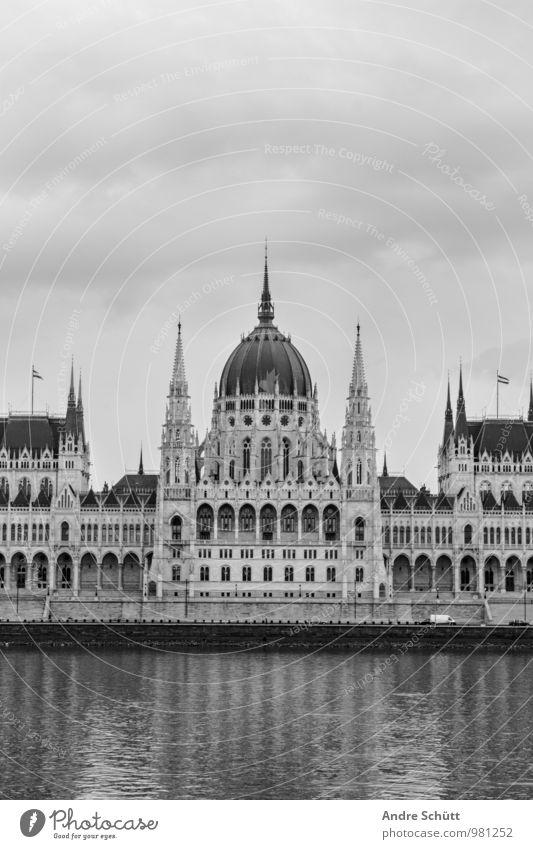 Budapest Town Old Országház Hungarian Parliament Building Black & white photo