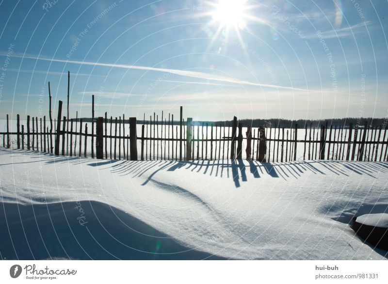 Vacation & Travel Calm Far-off places Winter Snow Freedom Bright Dream Authentic Beautiful weather Adventure Fence Village Cloudless sky Snowscape Caution