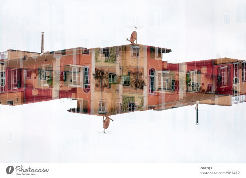 Colour House (Residential Structure) Window Architecture Building Facade Living or residing Design Perspective Crazy Planning Manmade structures Balcony Surrealism Double exposure Symmetry