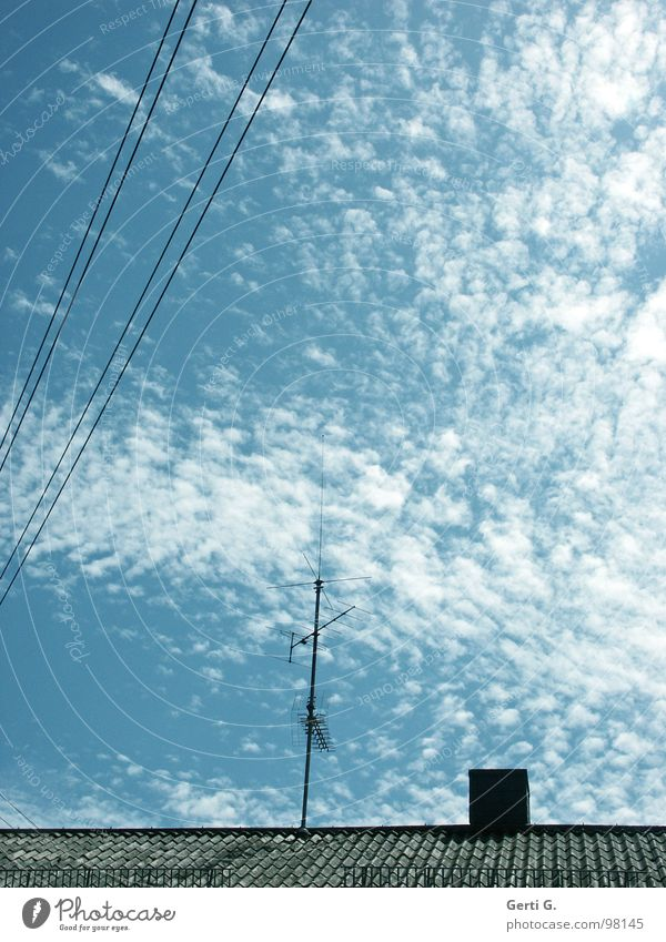 current Electricity Energy industry Sky blue Clouds Altocumulus floccus Streamline Roof Roof ridge Antenna Roofing tile Transmission lines Diagonal