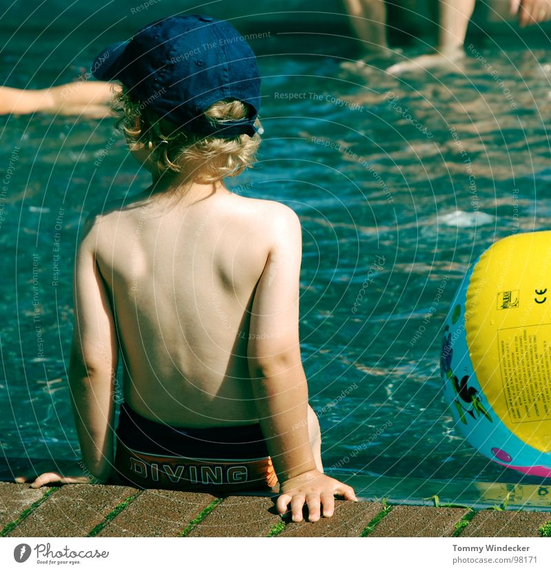 Human being Child Blue Water Vacation & Travel Summer Beach Joy Cold Warmth Playing Boy (child) Swimming & Bathing Blonde Infancy Fear