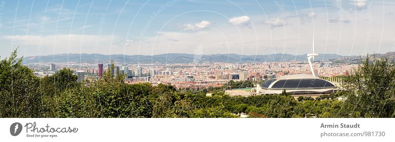 Panorama - Barcelona - Olympic Stadium Lifestyle Vacation & Travel Tourism Far-off places Summer vacation Landscape Sky Beautiful weather Hill Mountain