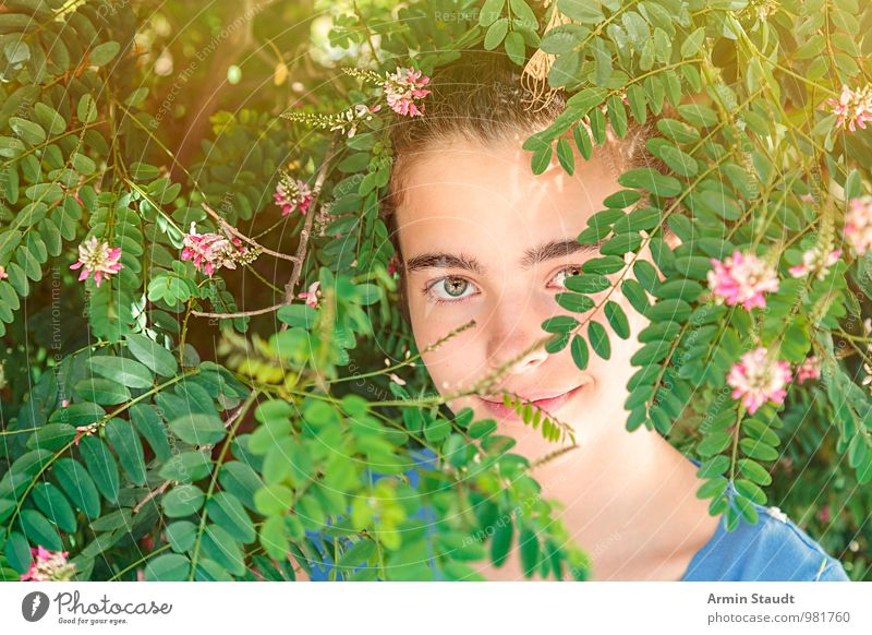 Human being Child Nature Youth (Young adults) Plant Beautiful Summer Relaxation Calm Face Eyes Life Feminine Blossom Style Happy
